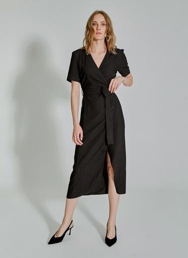 People By Fabrika Bağlamalı Düğme Detaylı Kruvaze Elbise Siyah